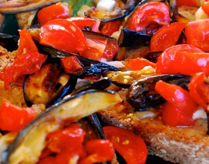 BRUSCHETTA WITH ROASTED EGGPLANTS, TOMATOES AND MOZZARELLA